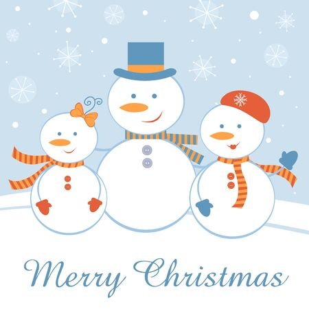 A Christmas card with happy snowman family Vector