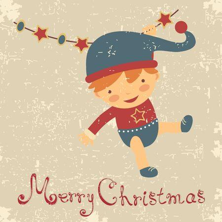 A cute vintage style baby Chrsitmas card Stock Vector - 16131479