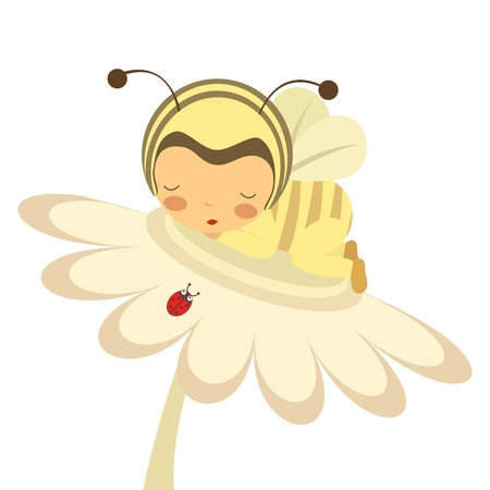 ladybug cartoon: An illustration of a baby in bee-costume sleeping on a flower