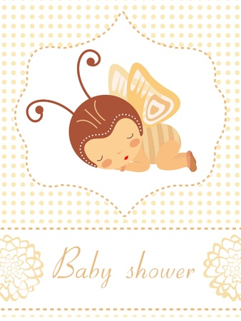 An elegant baby shower card with baby-butterfly girl sleeping Stock Vector - 16727984