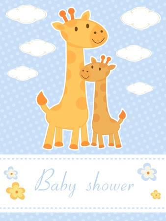 baby arrival: New baby arrival announcement card with giraffes