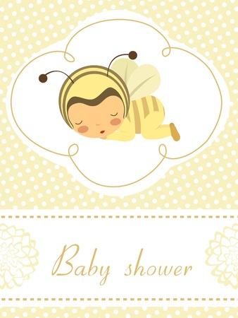 Élégante carte d'annonce de bébé avec le bébé dormir dans le costume d'abeille