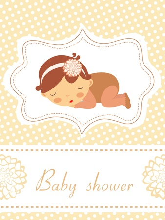 An elegant new baby announcement card with a n adorable baby girl sleeping Stock Vector - 16727985
