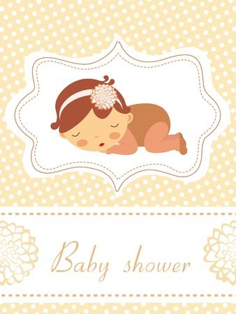 Une élégante nouvelle carte d'annonce de bébé avec une adorable petite fille endormie Vecteurs