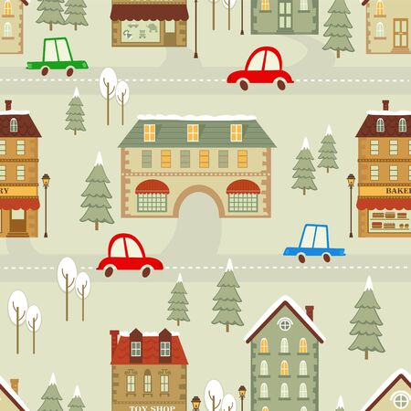Colorful Christmas city seamless pattern Vector