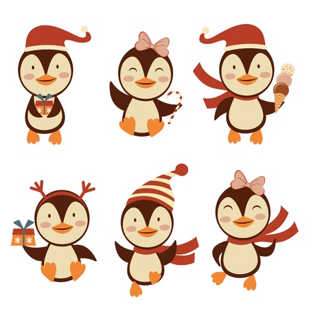 Cute Christmas penguins collection