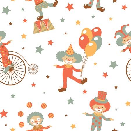 design design elemnt: Happy clowns seamless pattern Illustration