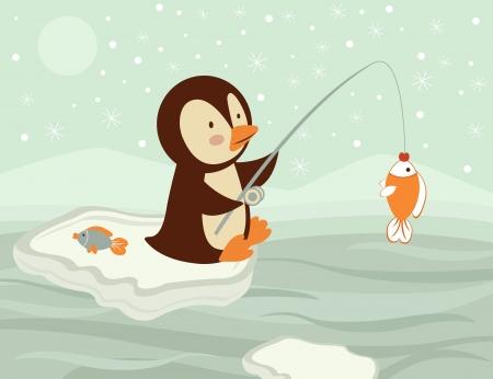 ice fishing: Una ilustraci�n de ping�ino pesca