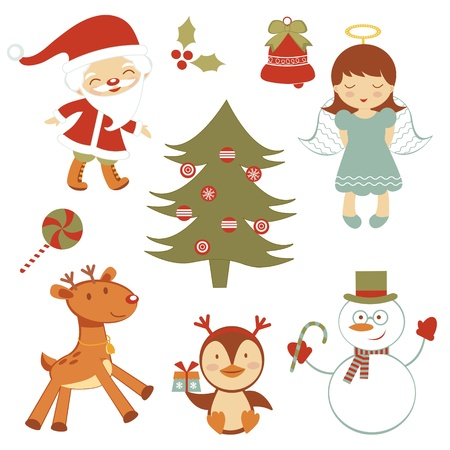 Cute collection of Christmas related elements and cartoons Stock Vector - 16728009