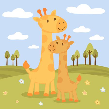 lanscape: An illustration of happy giraffes family