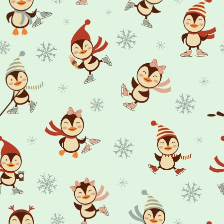 Colorful Ice skating penguins seamless pattern