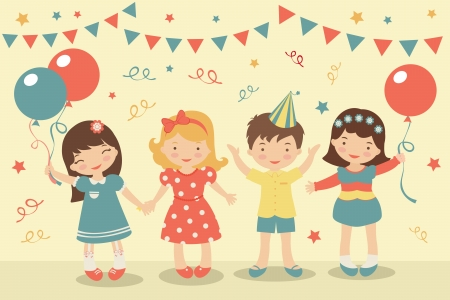 people celebrating: An illustration of kids party