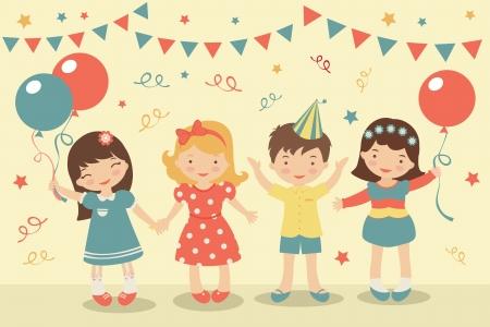 celebration party: An illustration of kids party