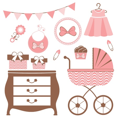 newborn baby girl: Baby shower set for a baby girl coming