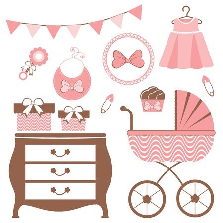 Baby shower set voor een baby meisje dat Vector Illustratie