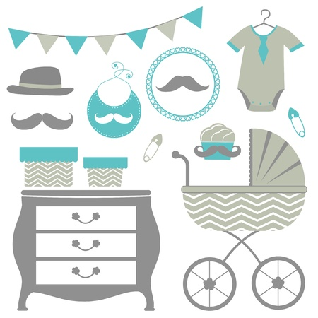 New man is coming baby shower set Vector