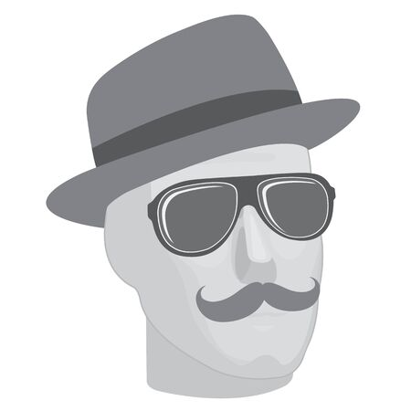 mustaches: A male mannequin  head in sunglasses and hat