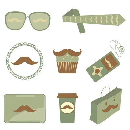design design elemnt: A cute collection of mustache icons Illustration