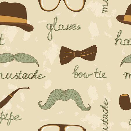 cartoon hairdresser: A stylish mustache party seamless pattern
