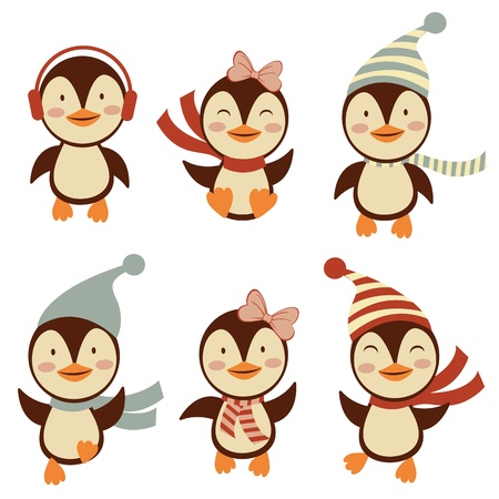 Cute little penguins collection Stock Vector - 16728029