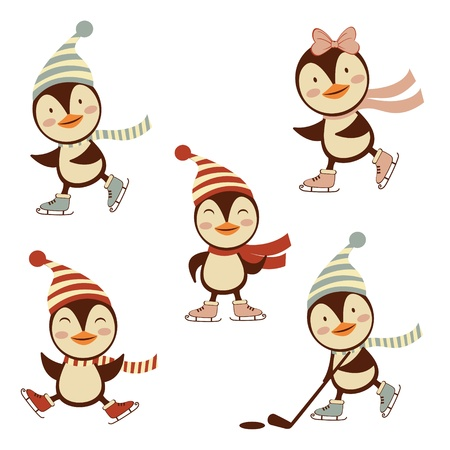 Colorful ice skating penguins collection Vector