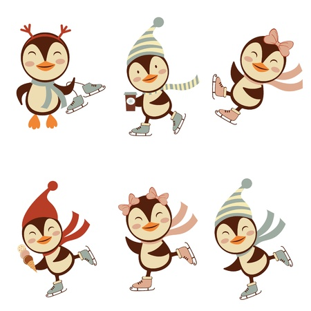 Funny ice skating penguins  set isolated on white Stock Vector - 16728019