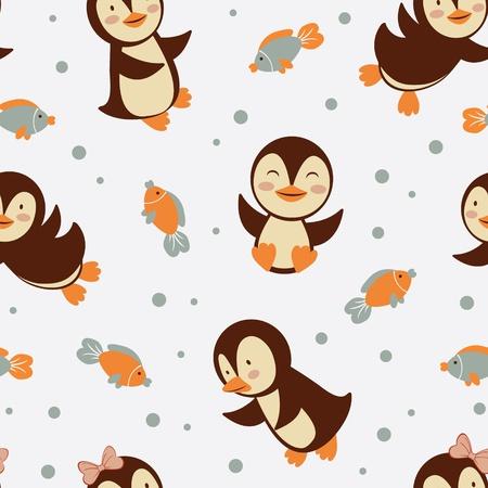 Cute little penguins seamless background Stock Vector - 16728031