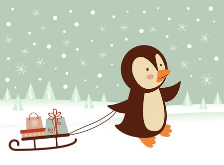 Cute little penguin bringing a sledge  with presents Vector
