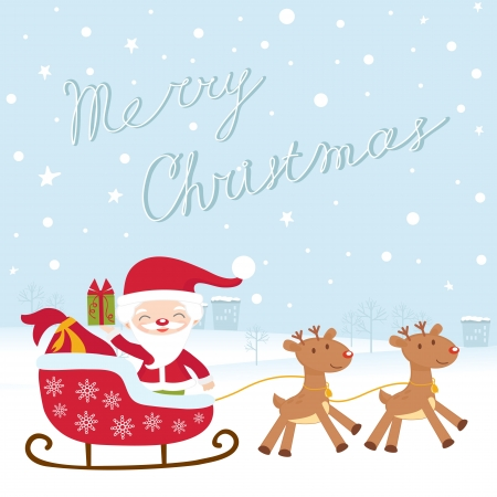A Christmas card with santa in sledge Stock Vector - 16727980
