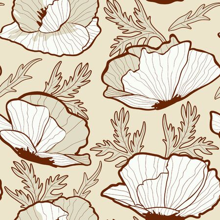 Elegant Poppy flowers seamless background Vector
