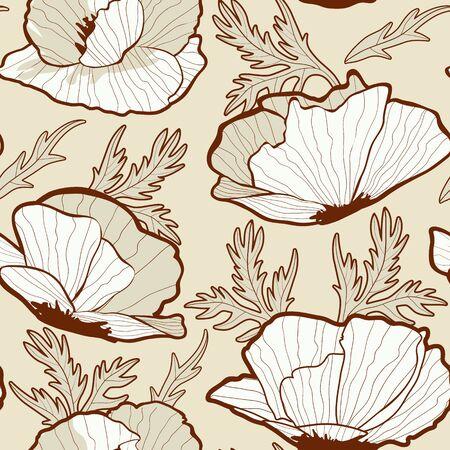 poppy flower: Elegant Poppy flowers seamless background