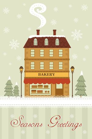 Seasons greetings card with cute little bakery shop Stock Vector - 16727971