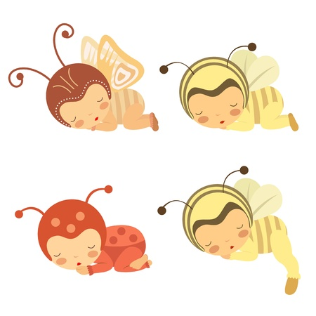 sleeping girl: A cute set of sleeping babies in various costumes