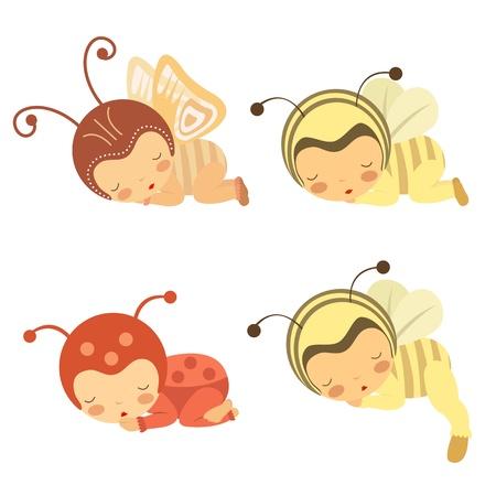 mariquitas: Un conjunto lindo de los beb�s durmiendo en varios trajes Vectores