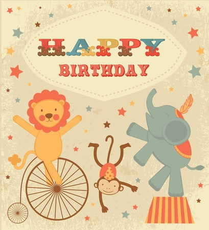An old style Birthday card with circus animals Vector