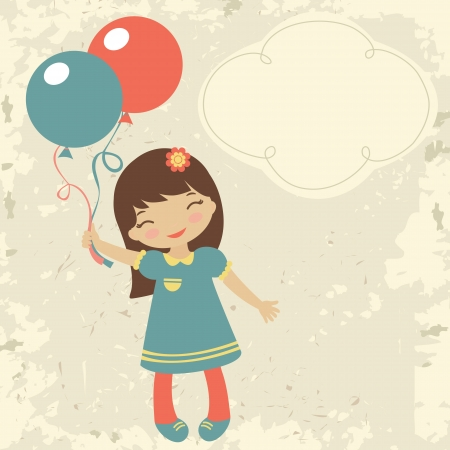 little girl smiling: Old style card with little girl holding balloons