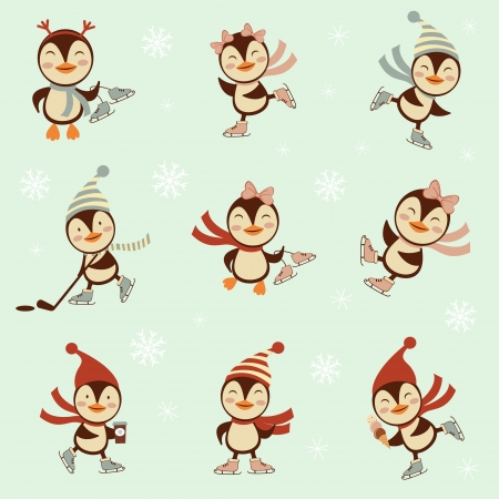 ice skating: Cute winter penguins set