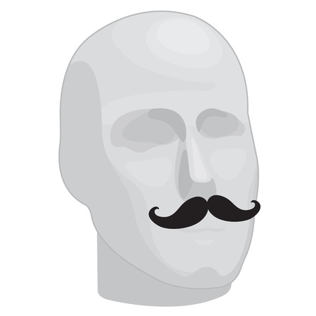 mustaches: An illustration of a male mannequin head with mustaches