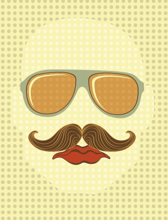 Retro style male face with sunglasses and mustache Stock Vector - 16727968