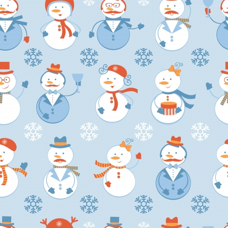 Snowmen colorful seamless pattern Vector