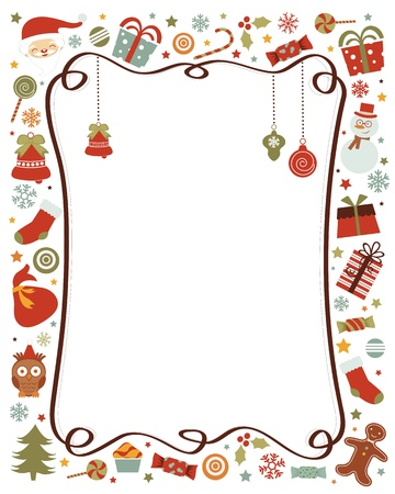 A colorful  border with various Christmas related elements Vector