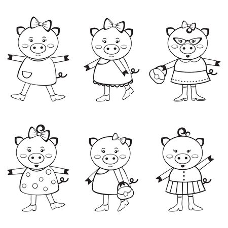 A cute collection of adorable little pigs to color Vector