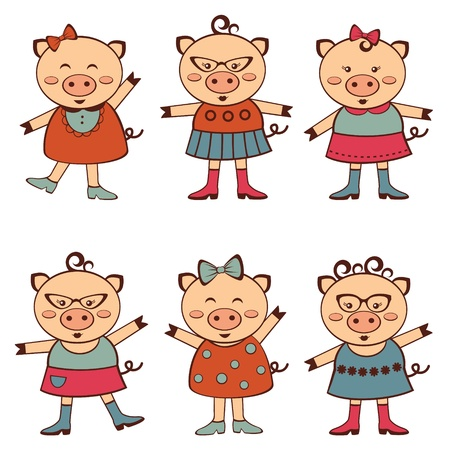 A colorful fashion pigs collection Stock Vector - 16980206
