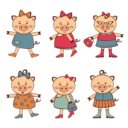 cute little girl smiling: An illustration of fashionable pigs