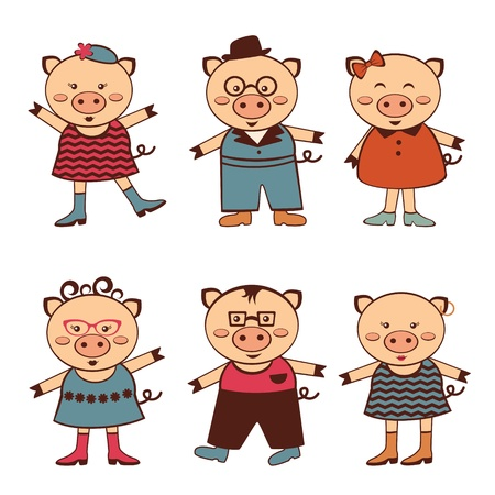 An illustration of cute pigs characters Vector