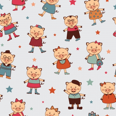 A seamless pattern with colorful little pigs Stock Vector - 16980208