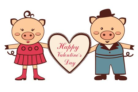 An illustration of cute Valentine pigs Stock Vector - 16980202