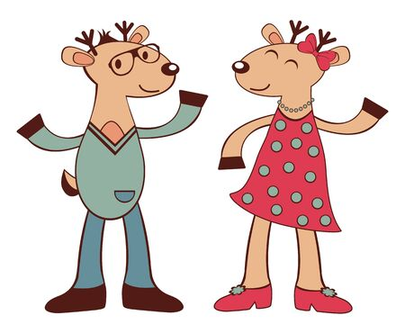 An illustration of happy deers hipsters dancing