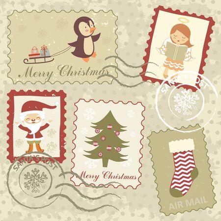 Un estilo antiguo Navidad sellos colección Ilustración de vector