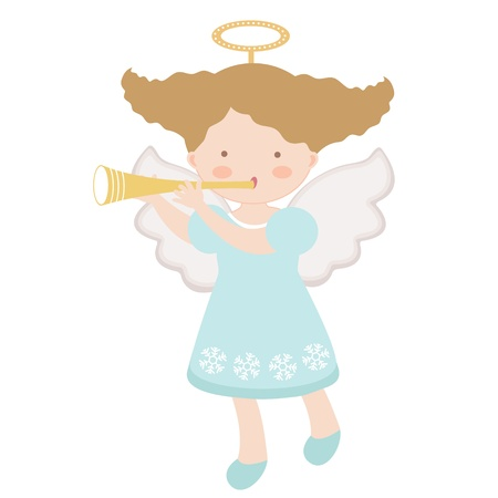 angel girl: An illustration of Little angel playing trumpet Illustration